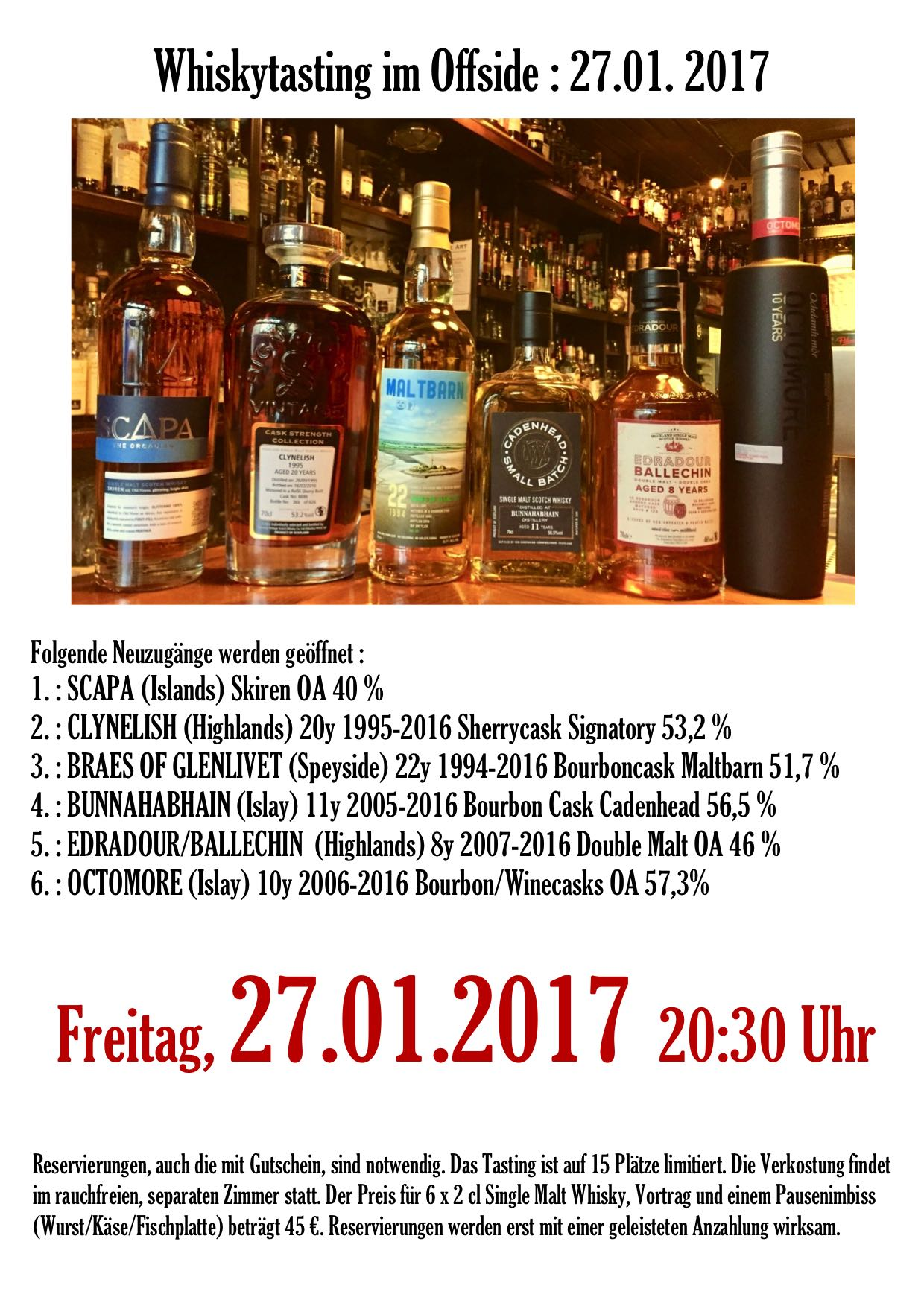 Offside Whisky Tasting 27.01.2017