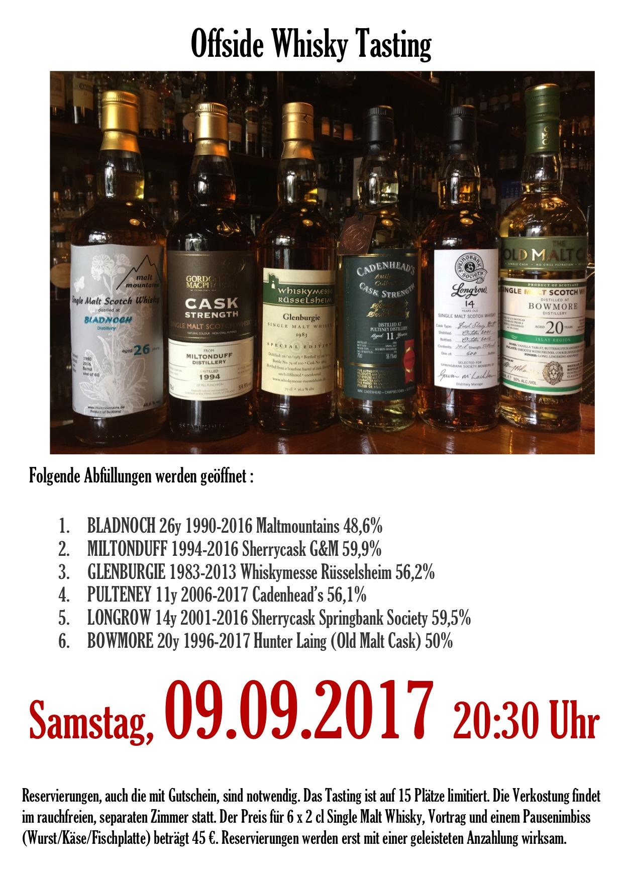 Offside Whisky Tasting 09.09.2017
