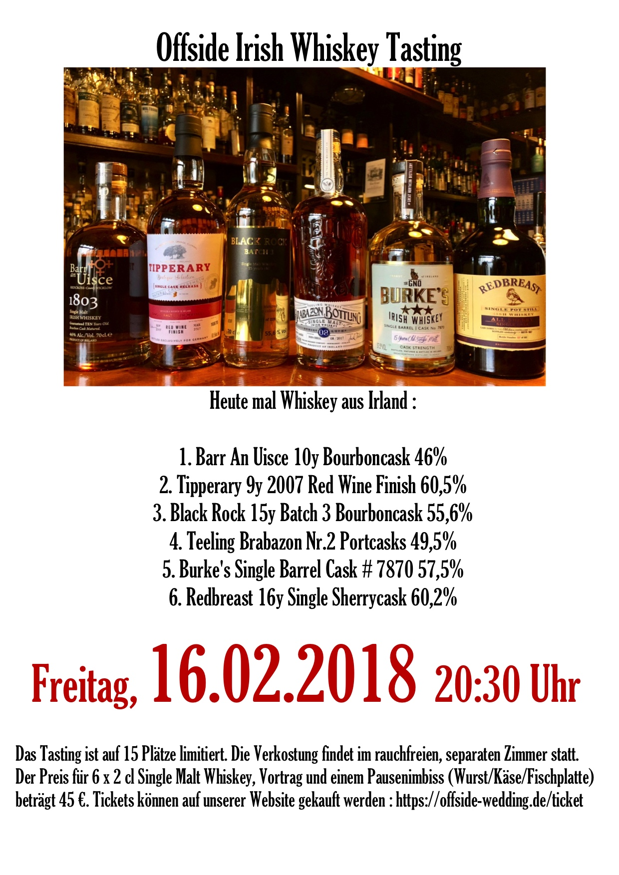 Irish Whiskey Tasting 16.02.18