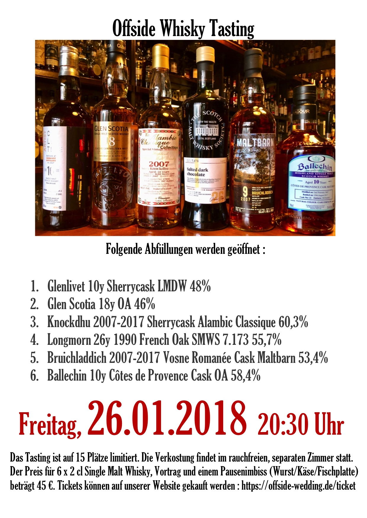 Offside Whisky Tasting 26.01.2018